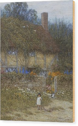 A Cottage Near Godalming Surrey Wood Print by Helen Allingham
