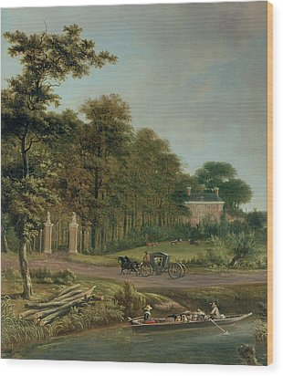 A Country House Wood Print by J Hackaert
