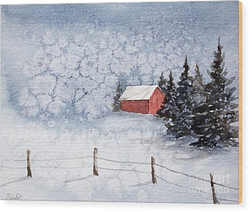 A Country Winter Wood Print by Rebecca Davis