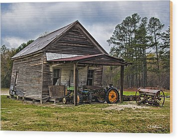 A Crooked Little Barn Wood Print by Christopher Holmes