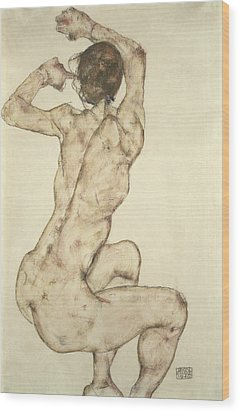 A Crouching Nude Wood Print by Egon Schiele