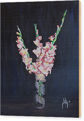 Wood Print featuring the painting A Cutting Of Gladiolas by Jim Phillips