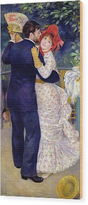 A Dance In The Country Wood Print by Pierre Auguste Renoir