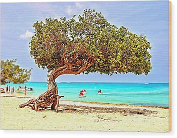 Wood Print featuring the photograph A Day At Eagle Beach by DJ Florek