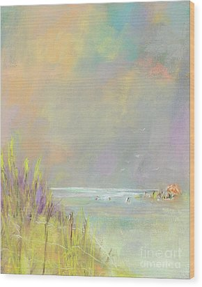 A Day At The Beach Wood Print by Frances Marino
