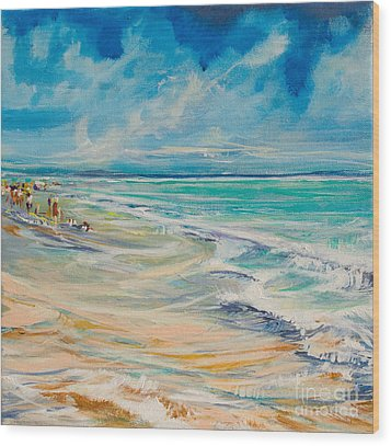 A Day At The Beach Wood Print by Michele Hollister - for Nancy Asbell