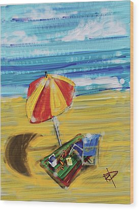 A Day At The Beach Wood Print by Russell Pierce