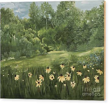 A Day At The Park Wood Print by Carol Sweetwood
