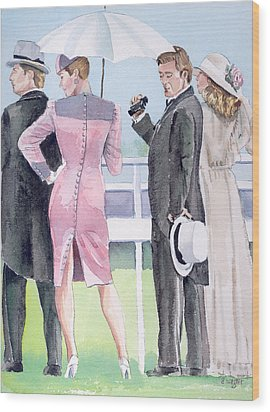 A Day At The Races Wood Print by Arline Wagner