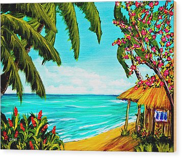 A Day In Paradise Hawaii Beach Shack  #360 Wood Print by Donald k Hall