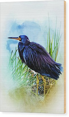 A Day In The Marsh Wood Print by Cyndy Doty