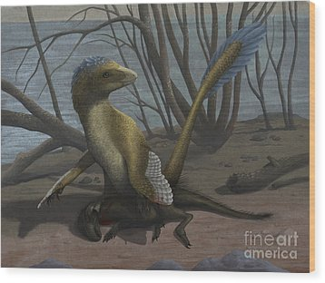 A Deinonychus Protects Its Kill Wood Print by Emily Willoughby