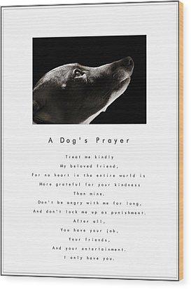 A Dog's Prayer - White Wood Print by Angela Rath
