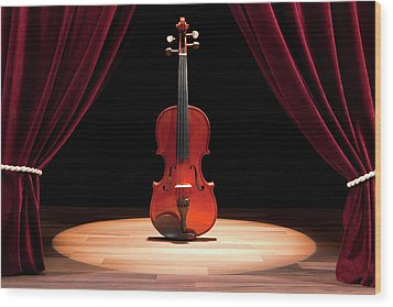 A Double Bass On A Theatre Stage Wood Print by Caspar Benson
