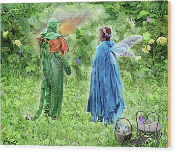 Wood Print featuring the digital art A Dragon Confides In A Fairy by Lise Winne