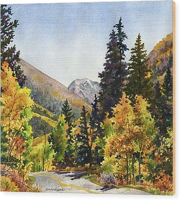 Wood Print featuring the painting A Drive In The Mountains by Anne Gifford