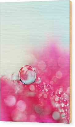 A Drop With Raspberrys And Cream Wood Print by Sharon Johnstone