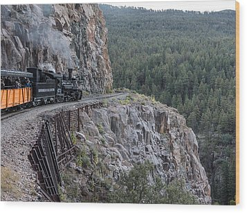 A Durango And Silverton Narrow Gauge Scenic Railroad Train Along A San Juan Mountains Precipice Wood Print by Carol M Highsmith