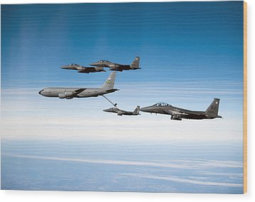 A F-15e Strike Eagle Is Refueled Wood Print by Stocktrek Images