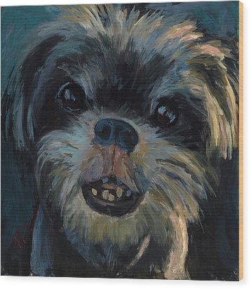 Wood Print featuring the painting A Face Only A Mother Could Love by Billie Colson