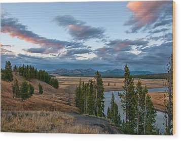 A Fall Evening In Hayden Valley Wood Print by Steve Stuller