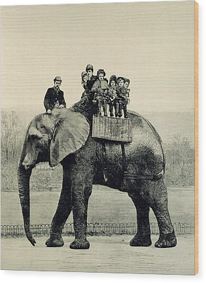 A Farewell Ride On Jumbo From The Illustrated London News Wood Print by English School
