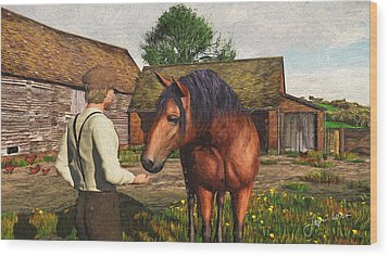 Wood Print featuring the digital art A Farmer And His Horse by Jayne Wilson