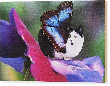 A Feline Fairy In My Garden Wood Print by Angela Davies