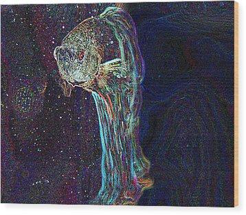 A Fish Called Poe Wood Print by Julie Niemela