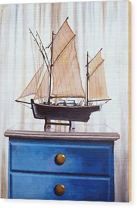 A Fishin Boat Right Outside Of Delacroix Wood Print by Tim Johnson