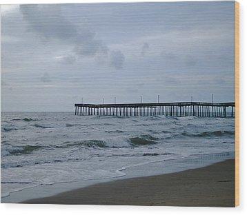 A Fishing Pier At Dawn Wood Print