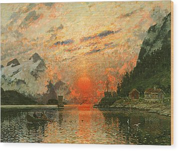 A Fjord Wood Print by Adelsteen Normann