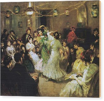 A Flamenco Party At Home Wood Print by Francis Luis Mora