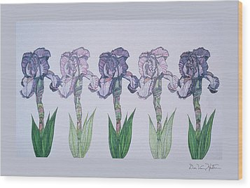 A Floral Line Wood Print