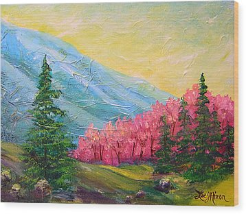 Wood Print featuring the painting A Florid View Of The Blue Ridge by Lee Nixon