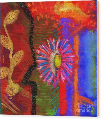 Wood Print featuring the painting A Flower For You by Angela L Walker