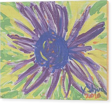 Wood Print featuring the painting A Flower by Yshua The Painter