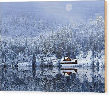Wood Print featuring the photograph A Foggy Winter Night by Diane Schuster