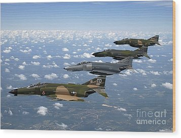A Formation Of F-4 Phantom II Fighter Wood Print by Stocktrek Images