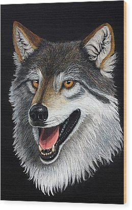 A Friendly Wolf Wood Print by Lorraine Foster