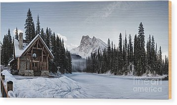 A Frozen Emerald Lake Morning Wood Print by Brad Allen Fine Art