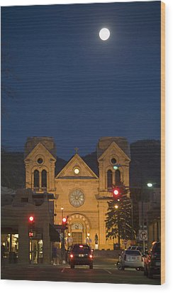A Full Moon Rises Over  Cathedral Wood Print by Stephen St. John