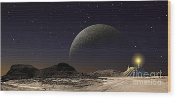 A Futuristic Space Scene Inspired Wood Print by Frank Hettick