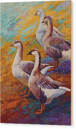 A Gaggle Of Four - Geese Wood Print by Marion Rose