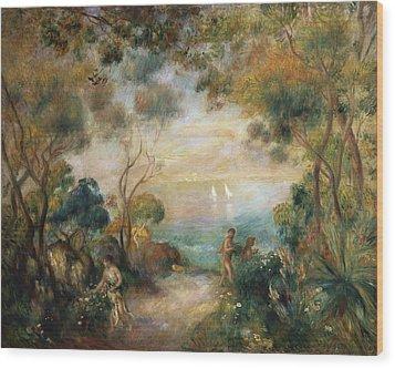 A Garden In Sorrento Wood Print by Pierre Auguste Renoir