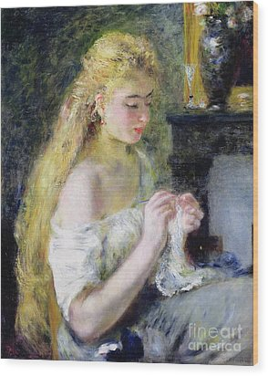 A Girl Crocheting Wood Print by Pierre Auguste Renoir