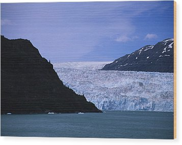 A Glacier Spills Into The Prince Wood Print by Stacy Gold