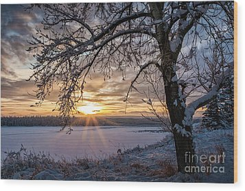 A Glenmore Sunset Wood Print by Brad Allen Fine Art