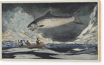 Wood Print featuring the painting A Good Pool. Saguenay River by Winslow Homer