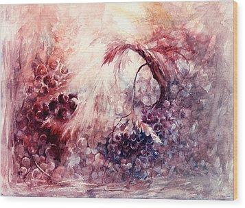 A Grape Fairy Tale Wood Print by Rachel Christine Nowicki